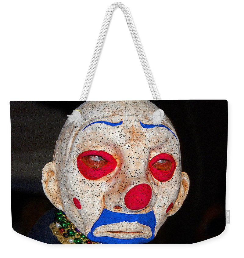 Sad Weekender Tote Bag featuring the painting Sad Clown by David Lee Thompson