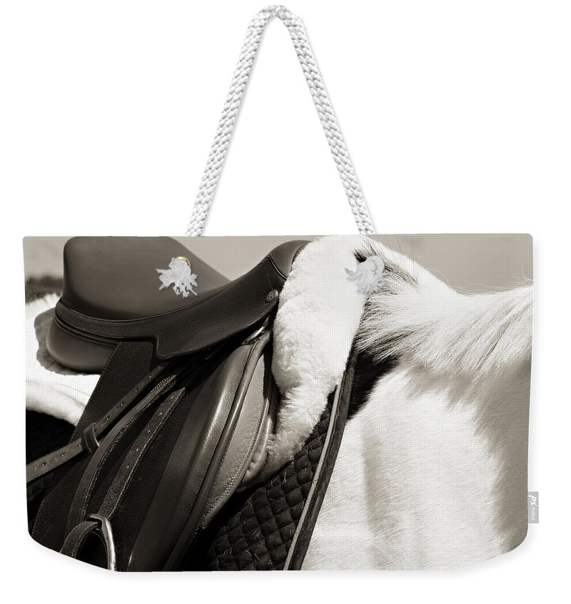 Horse Weekender Tote Bag featuring the photograph Saddle And Softness by Marilyn Hunt