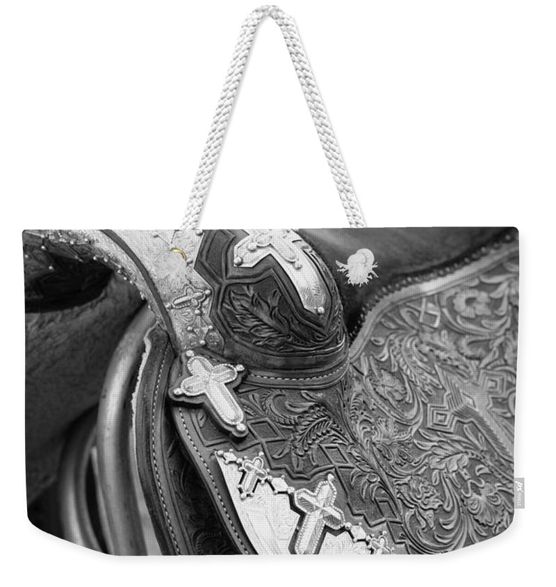 Americana Weekender Tote Bag featuring the photograph Saddle by Marilyn Hunt