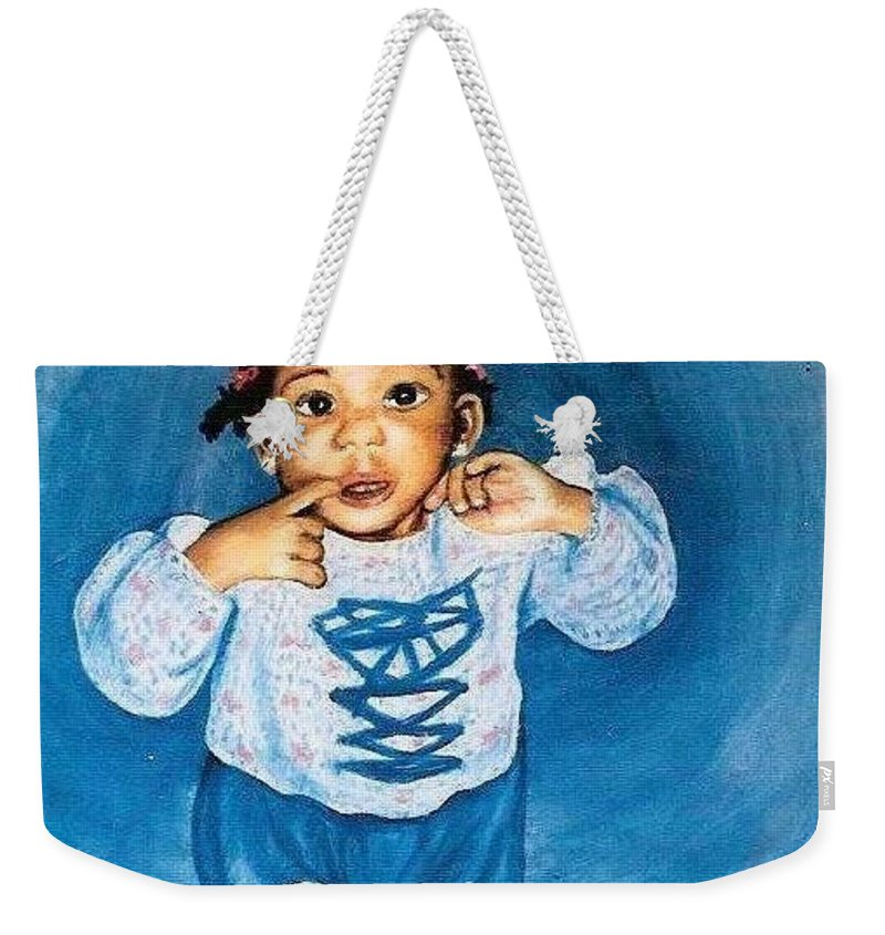 Child Weekender Tote Bag featuring the pastel Sadie by Gale Cochran-Smith
