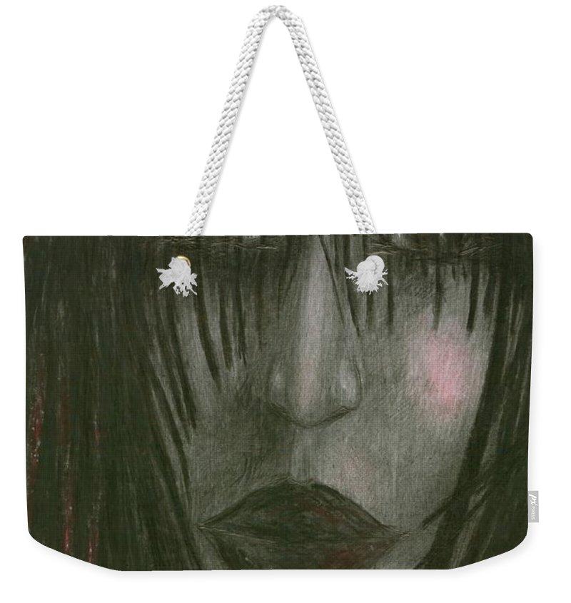 Psychedelic Weekender Tote Bag featuring the drawing Sadly Me by Wojtek Kowalski