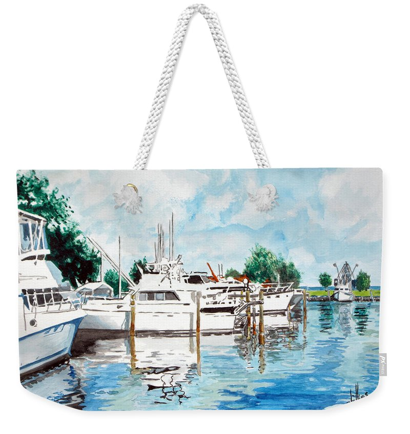 Boats Harbor Coastal Nautical Weekender Tote Bag featuring the painting Safe Harbor by Jim Phillips