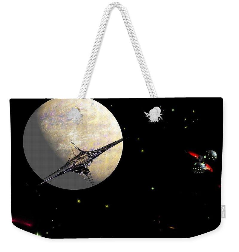 Abstract Weekender Tote Bag featuring the digital art Sagan Station At Betelgeuse IIi by David Lane