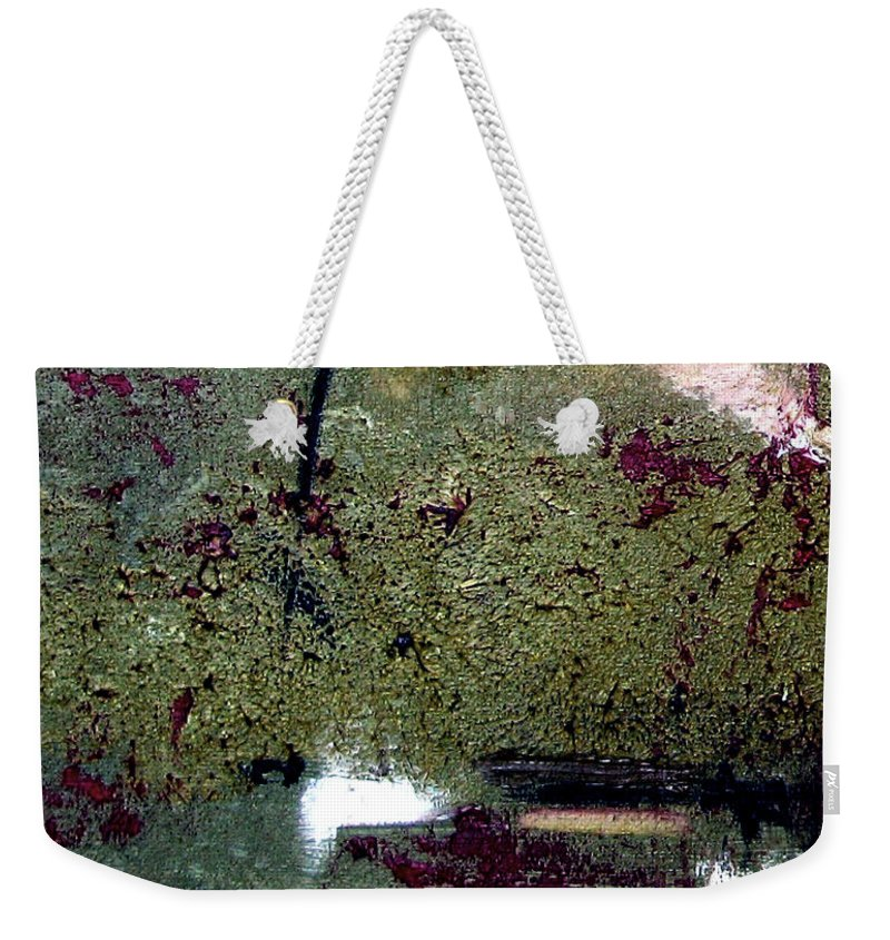 Abstract Weekender Tote Bag featuring the painting Sage And Plum by Ruth Palmer