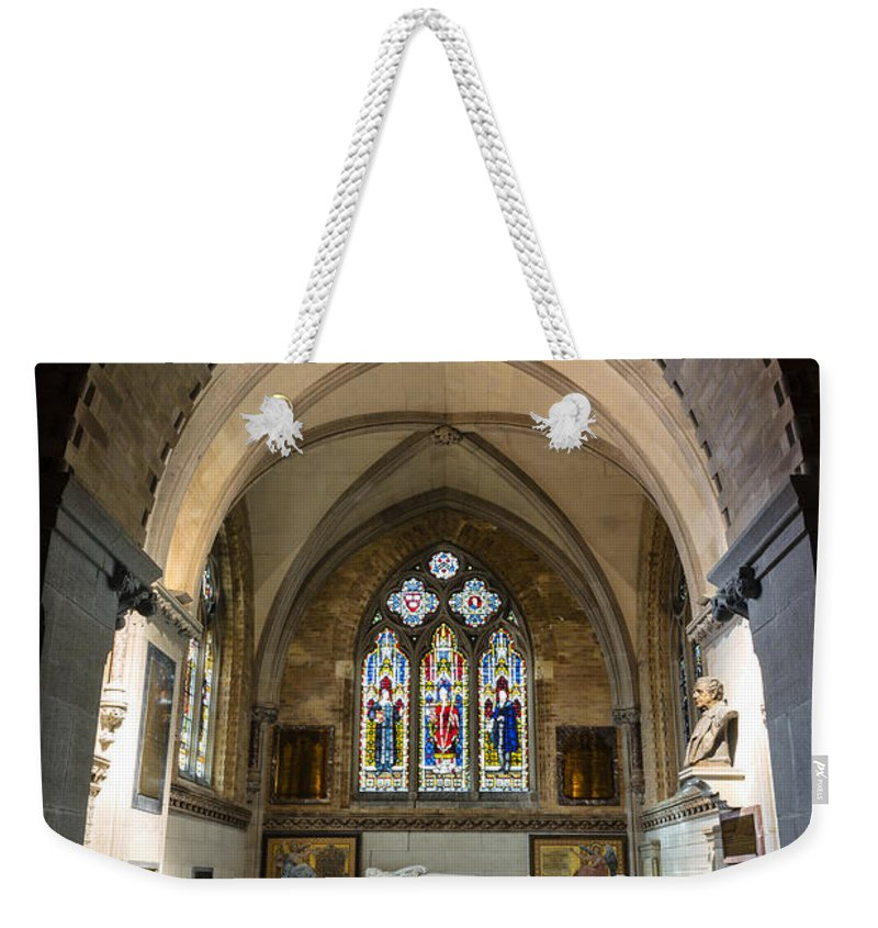 Sage Chapel Weekender Tote Bag featuring the photograph Sage Chapel Memorial Room by Stephen Stookey