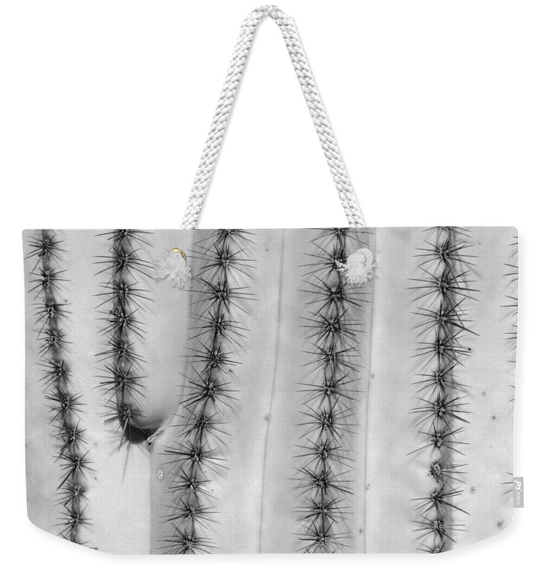 Saguaro Weekender Tote Bag featuring the photograph Saguaro Cactus Close-up Bw by James BO Insogna