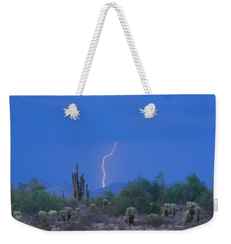 Lightning Weekender Tote Bag featuring the photograph Saguaro Desert Lightning Strike Fine Art by James BO Insogna