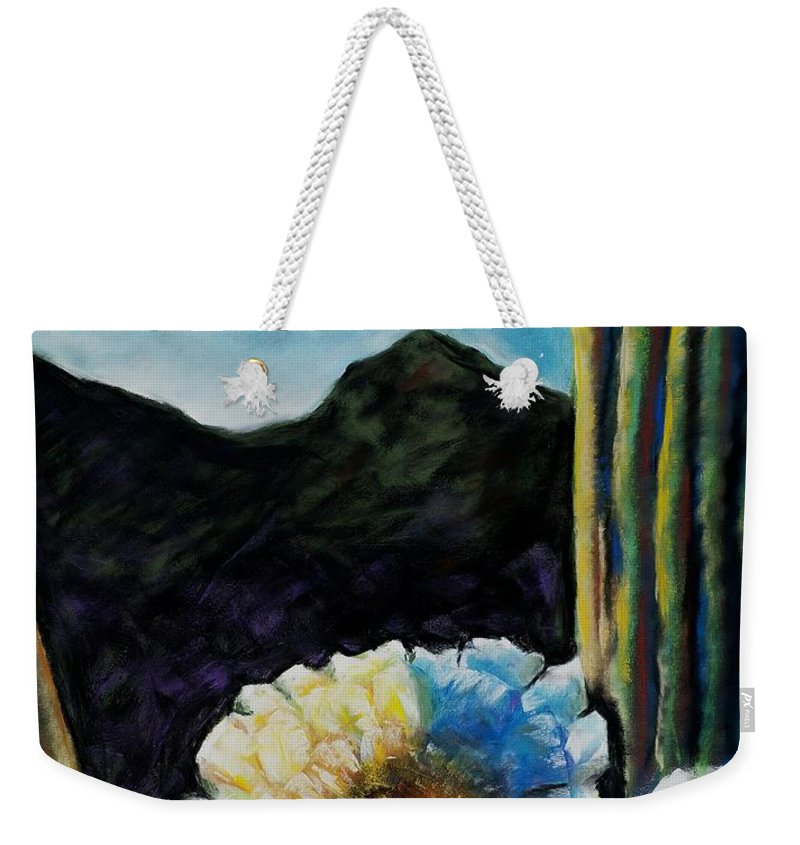 Desert Weekender Tote Bag featuring the painting Saguaro In Bloom by Frances Marino