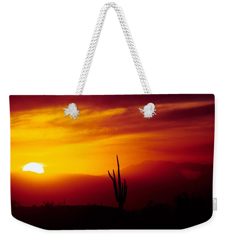 Arizona Weekender Tote Bag featuring the photograph Saguaro Sunset by Randy Oberg