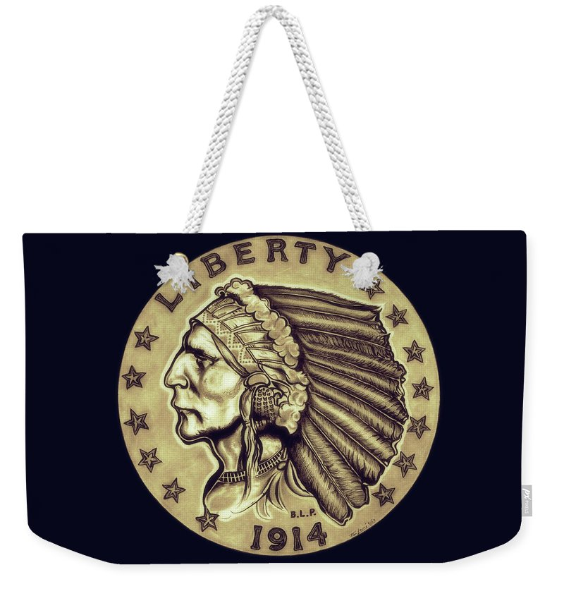 Indian Head Weekender Tote Bag featuring the drawing Sahara Gold Quarter Eagle by Fred Larucci