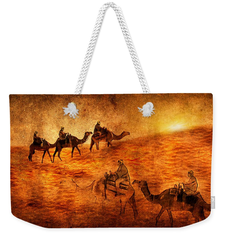 Abstract Weekender Tote Bag featuring the digital art Sahara by Svetlana Sewell