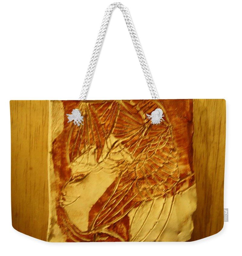Jesus Weekender Tote Bag featuring the ceramic art Sail - Tile by Gloria Ssali