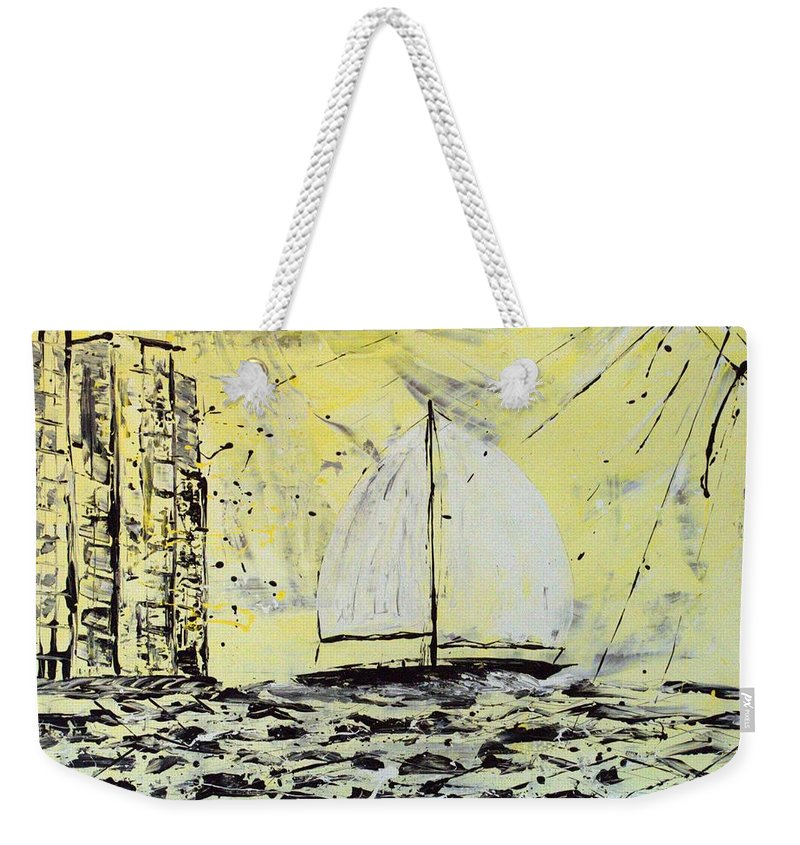 Sailboat With Sunray Weekender Tote Bag featuring the painting Sail And Sunrays by J R Seymour