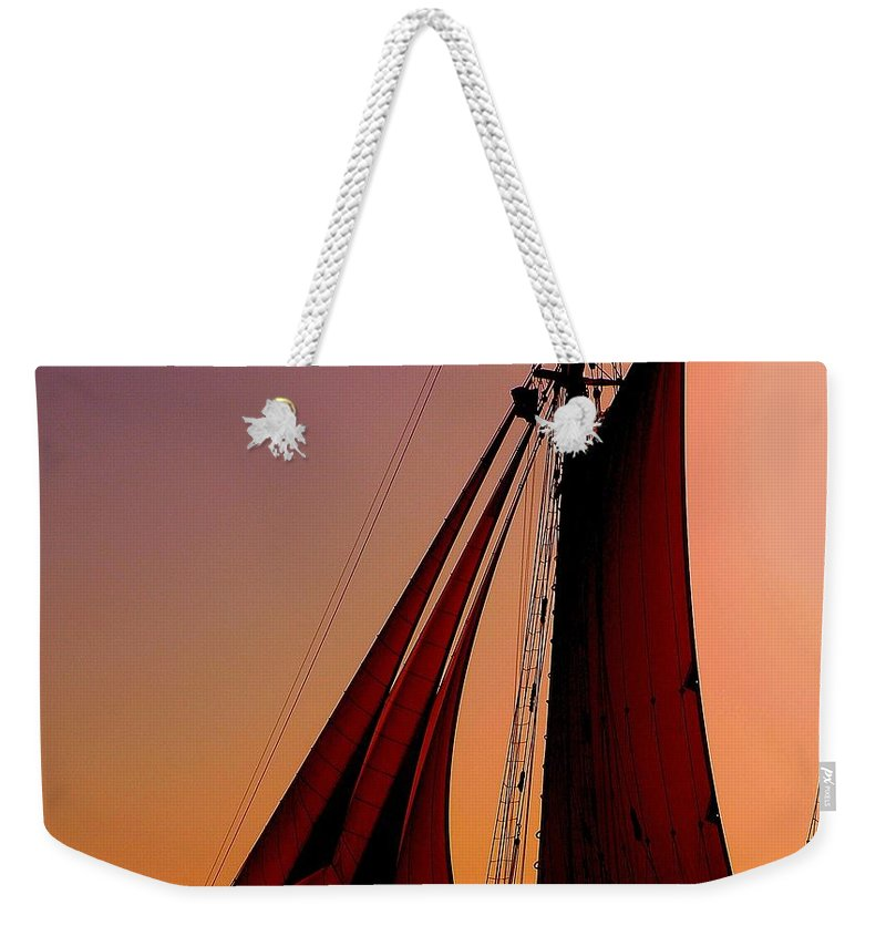 Sailing Weekender Tote Bag featuring the photograph Sail At Sunset by Susanne Van Hulst