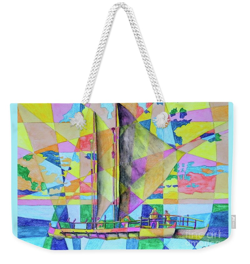 Sails Weekender Tote Bag featuring the painting Sail Away Sunset by Dale Jackson