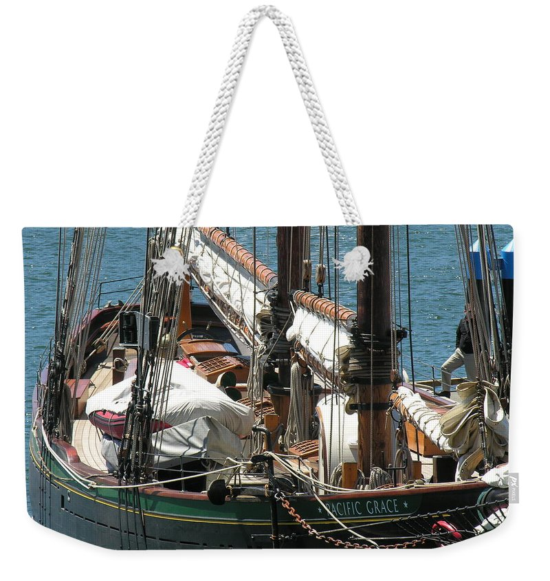 Boat Weekender Tote Bag featuring the photograph Sail Boat by Diane Greco-Lesser