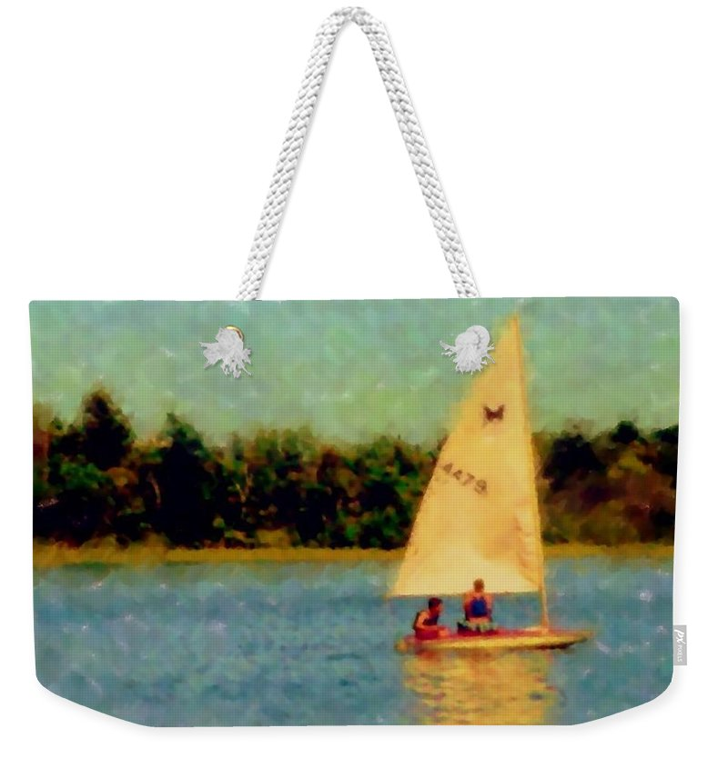 Sailboat Weekender Tote Bag featuring the digital art Sailboat by Anita Burgermeister
