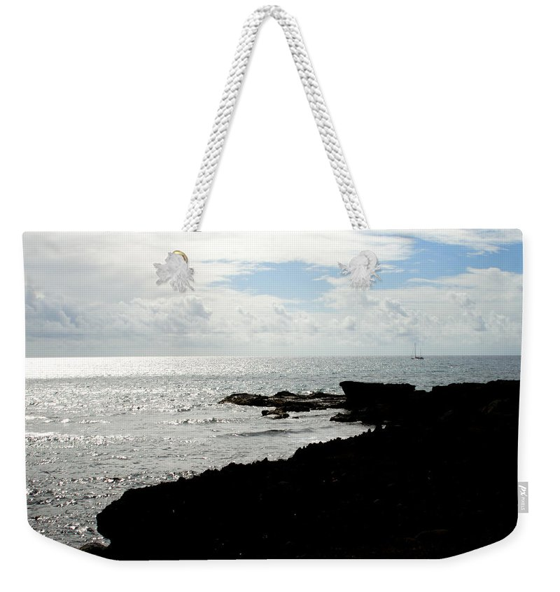 Sailboat Weekender Tote Bag featuring the photograph Sailboat At Point by Jean Macaluso