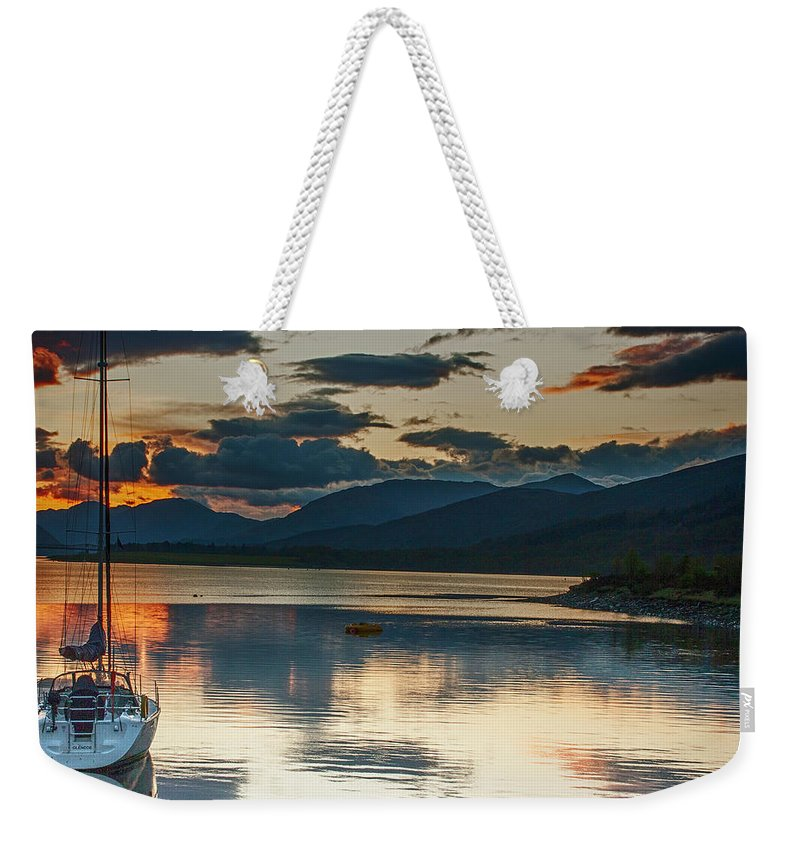 Sunset Weekender Tote Bag featuring the photograph Sailboat At Sunset by Larry Pegram