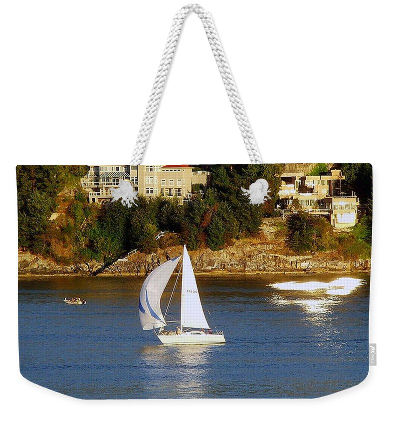 Sailboat Weekender Tote Bag featuring the photograph Sailboat In Vancouver by Robert Meanor