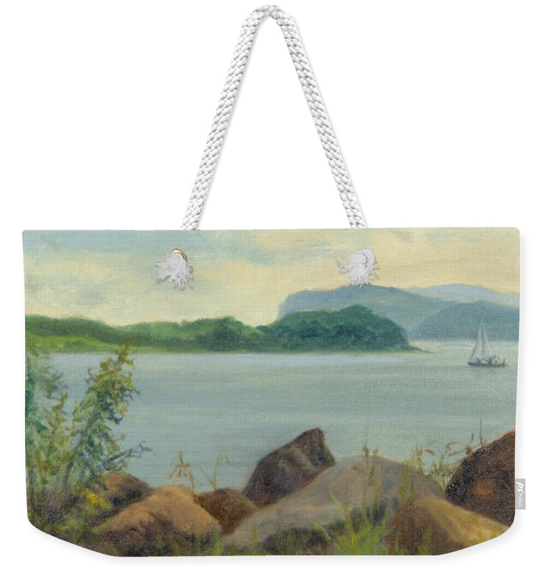 Oil Landscape Weekender Tote Bag featuring the painting Sailboat Near Croton Landing by Phyllis Tarlow