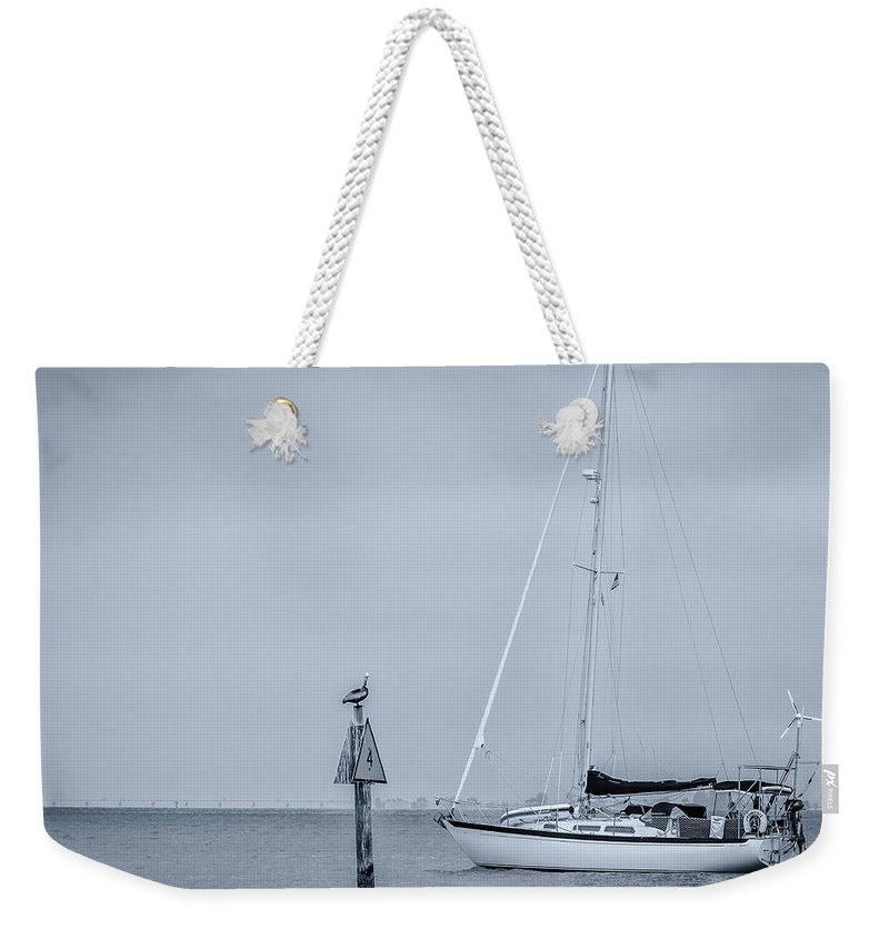 Black And White Weekender Tote Bag featuring the photograph Sailboat by Ron Pate