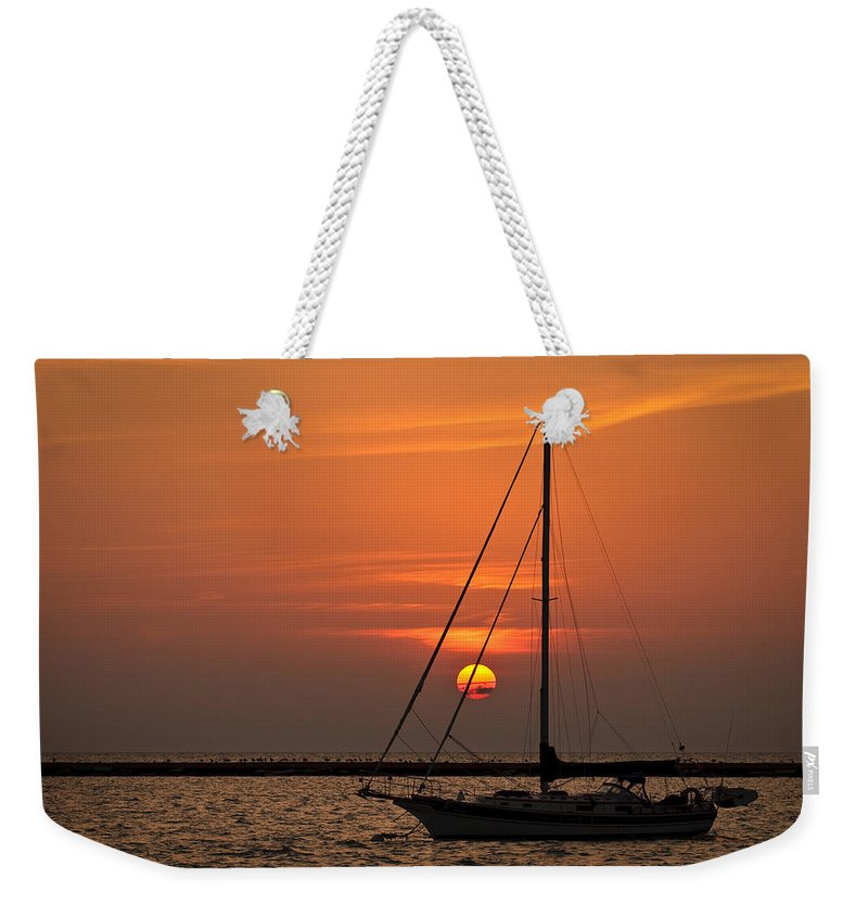 Boat Weekender Tote Bag featuring the photograph Sailboat Sunrise Chicago by Steve Gadomski