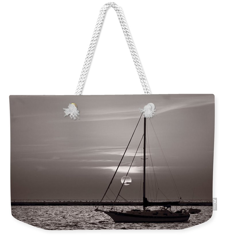 Boat Weekender Tote Bag featuring the photograph Sailboat Sunrise In B And W by Steve Gadomski