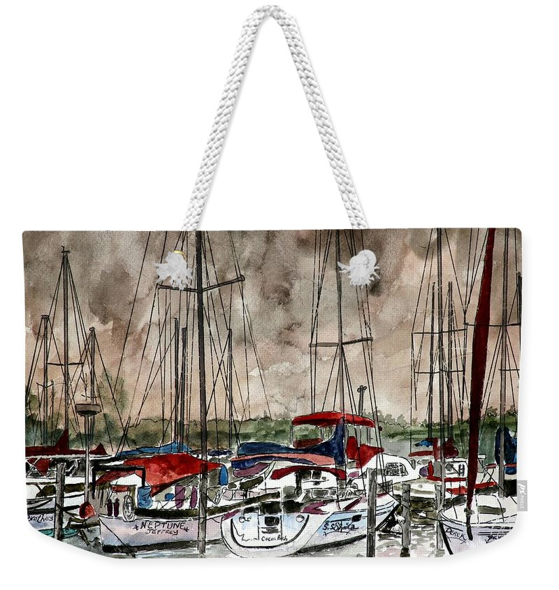 Watercolor Weekender Tote Bag featuring the painting Sailboats At Night by Derek Mccrea