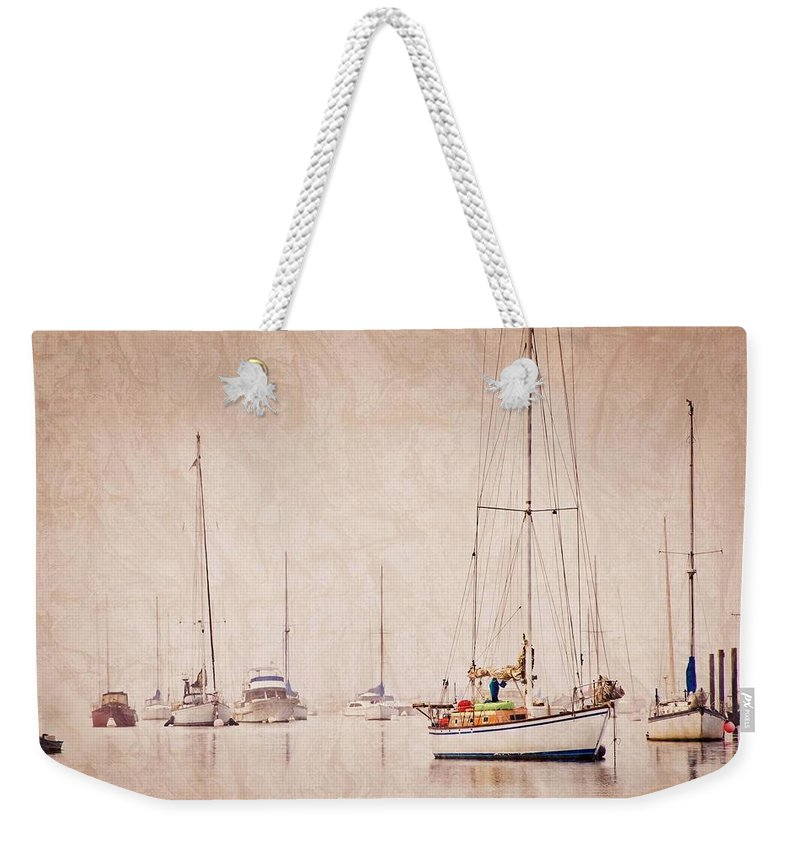 Sailboats Weekender Tote Bag featuring the photograph Sailboats in Morro Bay Fog by Zayne Diamond Photographic