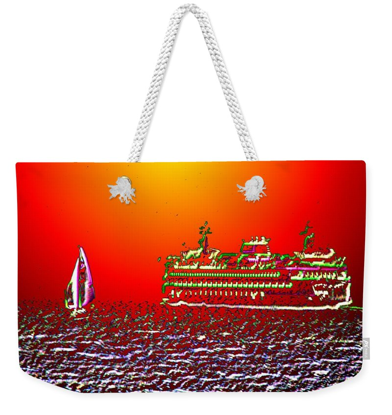 Sail Weekender Tote Bag featuring the photograph Sailin The Sound by Tim Allen