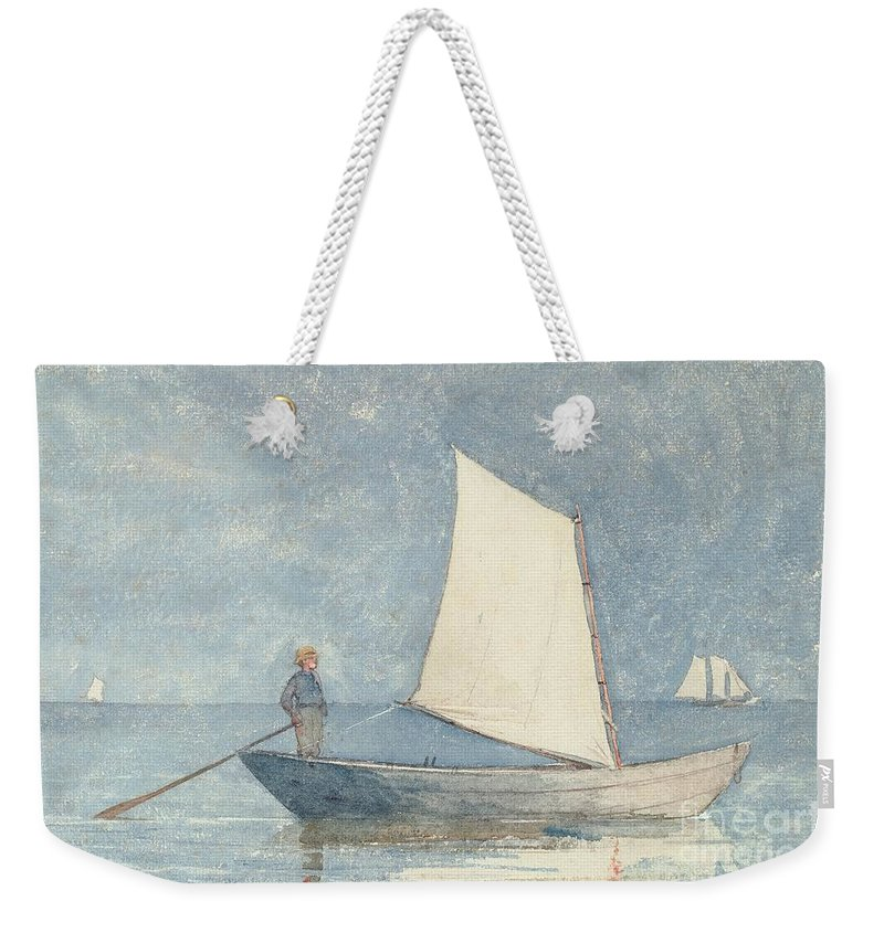 Boat Weekender Tote Bag featuring the painting Sailing a Dory by Winslow Homer