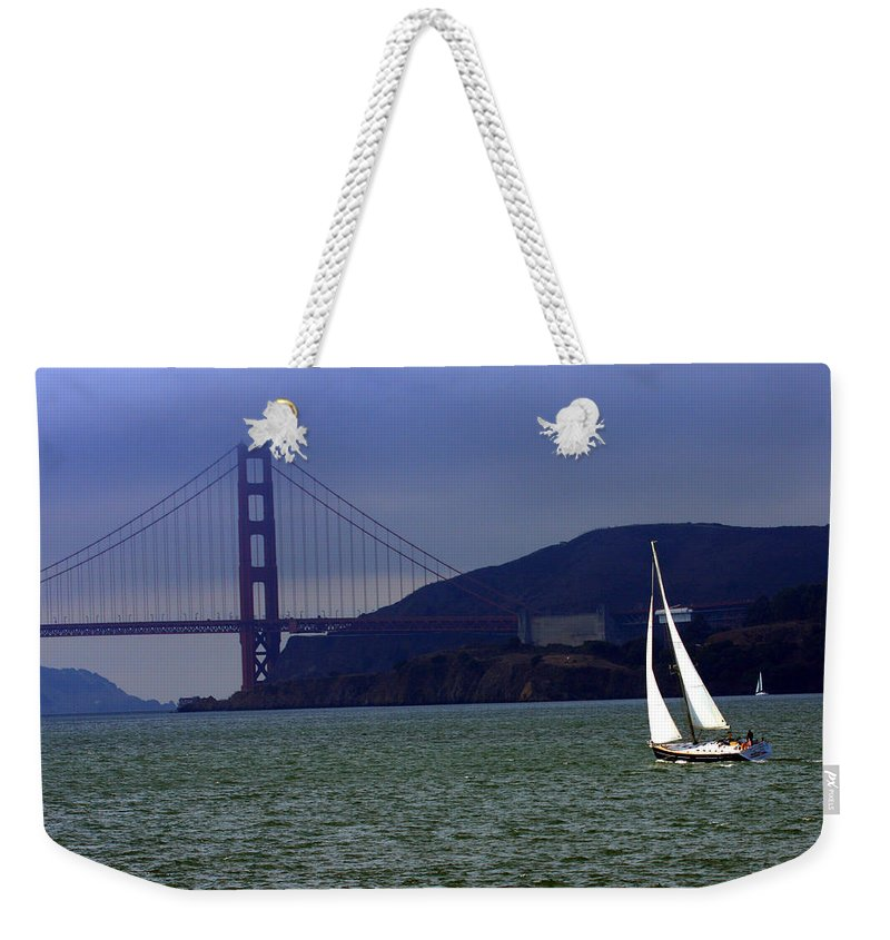 Sailboat Weekender Tote Bag featuring the digital art Sailing And The Golden Gate by David Salter
