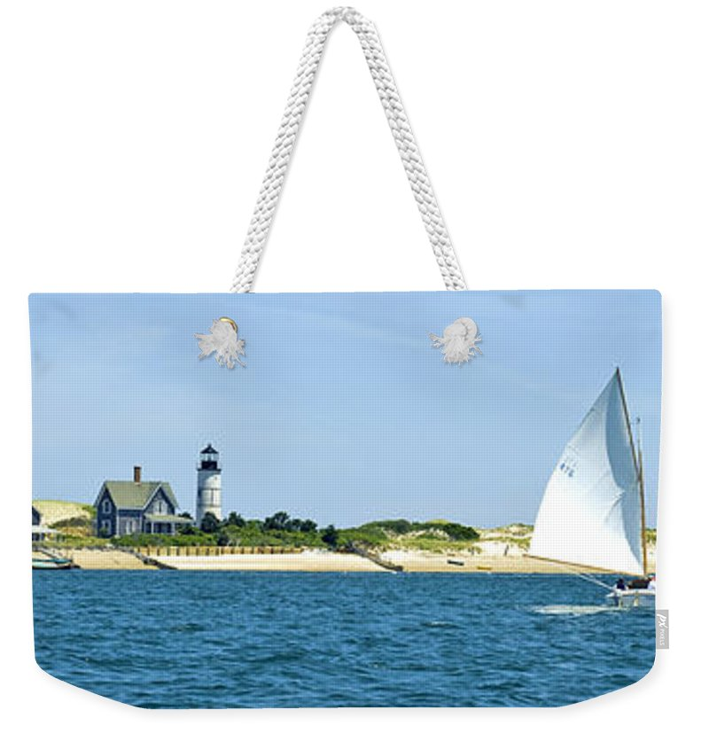 Sailing Weekender Tote Bag featuring the photograph Sailing Around Barnstable Harbor by Charles Harden