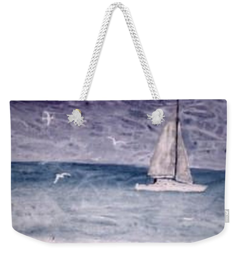 Watercolor Seascape Sailing Boat Landscape Painting Weekender Tote Bag featuring the painting Sailing At Night Nautical Painting Print by Derek Mccrea
