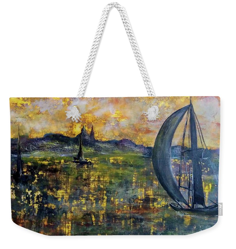 Weekender Tote Bag featuring the painting Sailing Away by Anthony Camilleri