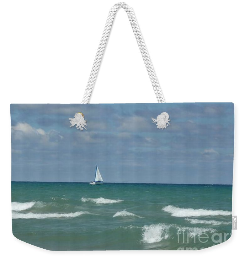 Scenery Weekender Tote Bag featuring the photograph Sailing Away On The Lake by Barb Montanye Meseroll