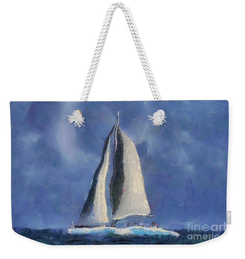 Sail Weekender Tote Bag featuring the digital art Sailing Away by Teresa Zieba