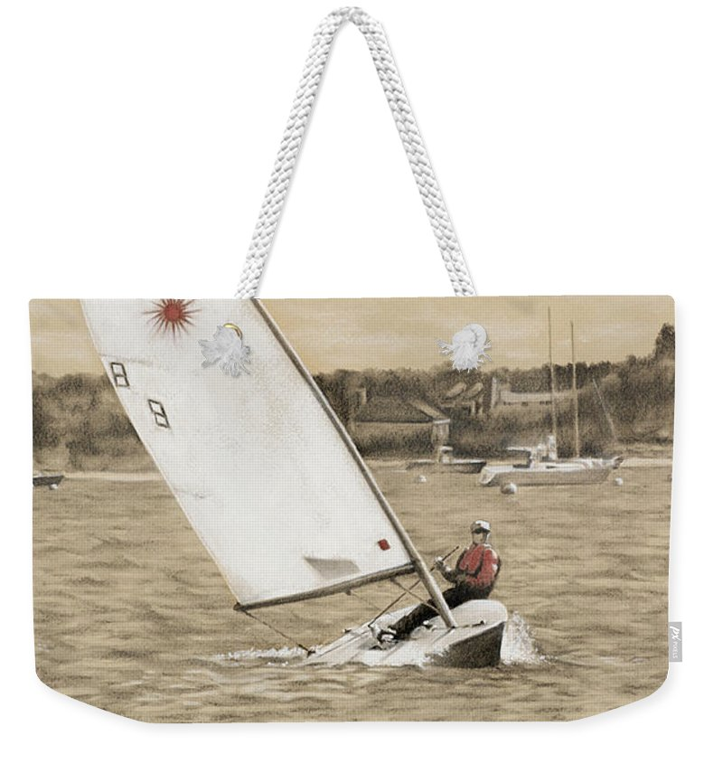 Sailing Weekender Tote Bag featuring the drawing Sailing Away by Todd Bachta