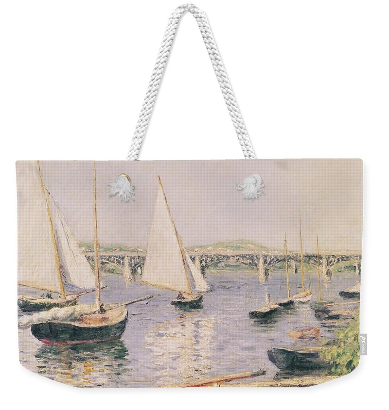 Yachting Weekender Tote Bag featuring the painting Sailing Boats At Argenteuil by Gustave Caillebotte