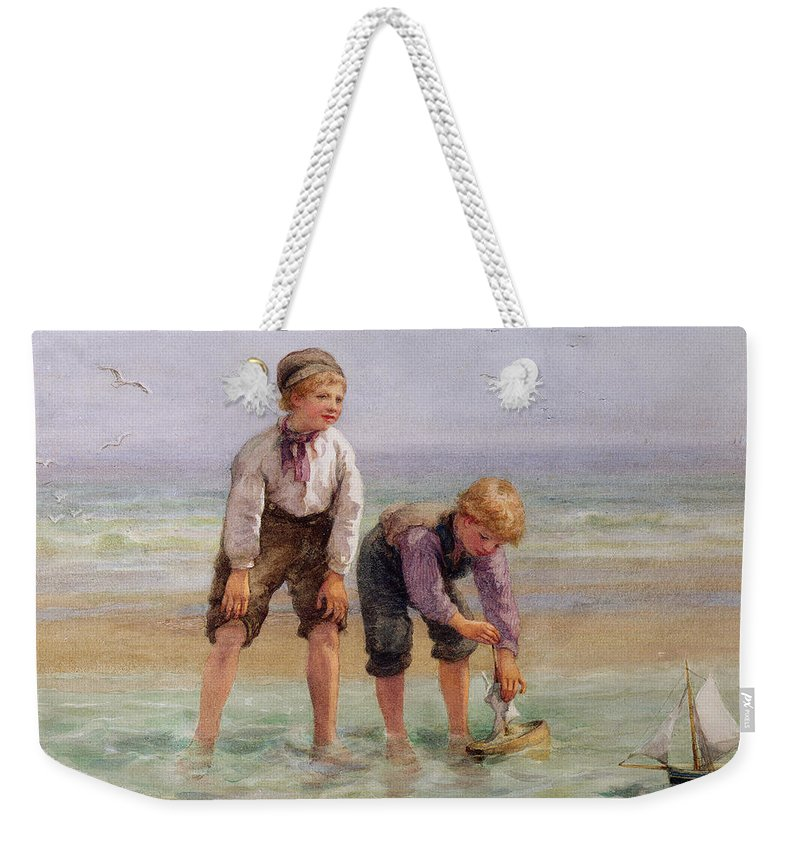 Sailing Weekender Tote Bag featuring the painting Sailing Boats by Edith Hume