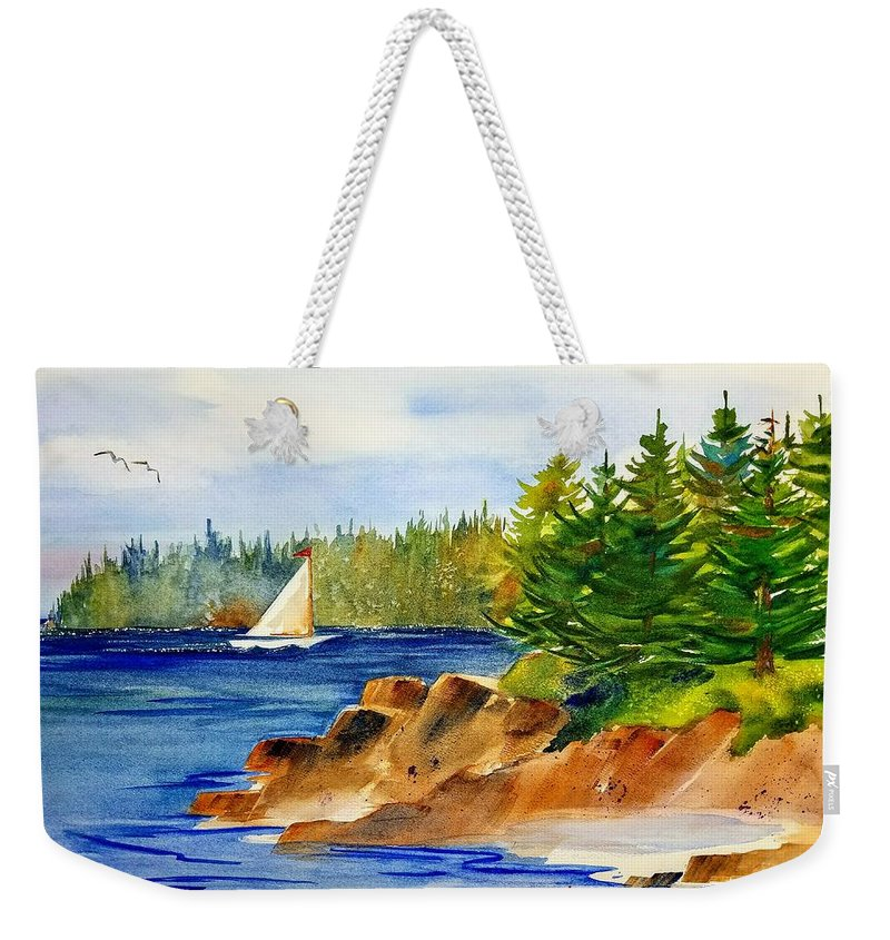 Watercolor Painting Weekender Tote Bag featuring the painting Sailing Downeast by Don Whitesel