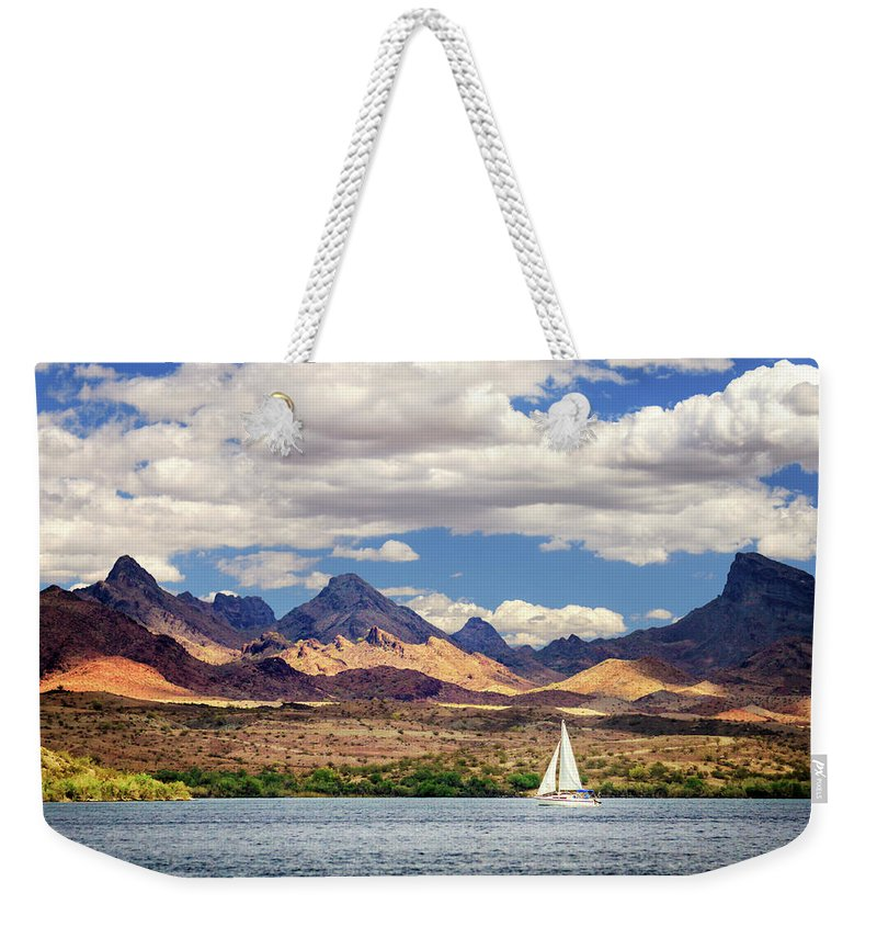 Sailing Weekender Tote Bag featuring the photograph Sailing In Havasu by James Eddy
