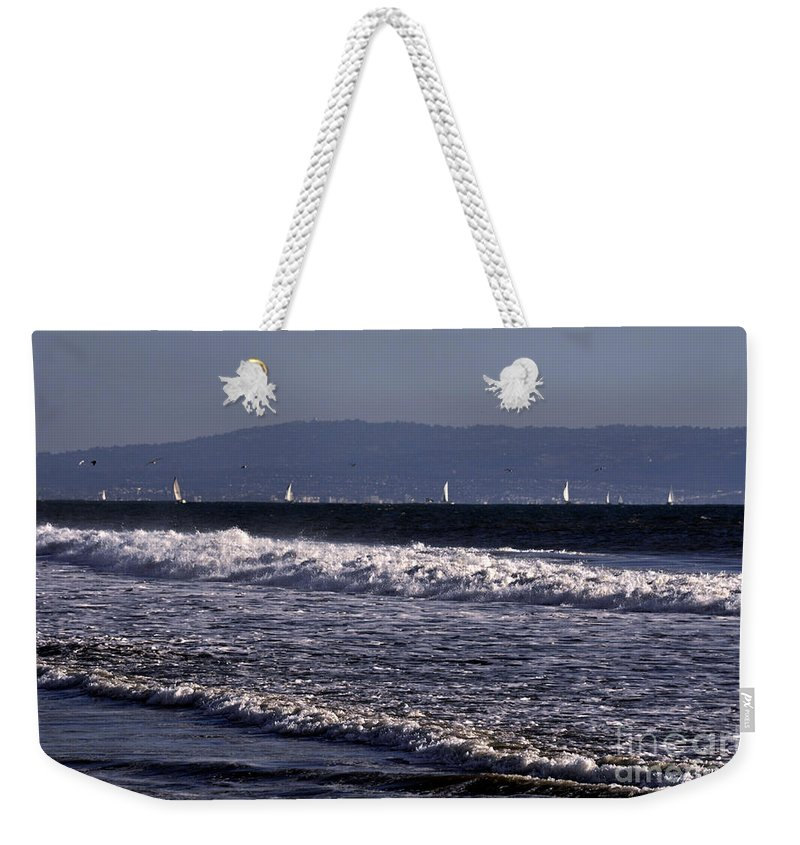 Clay Weekender Tote Bag featuring the photograph Sailing In Santa Monica by Clayton Bruster