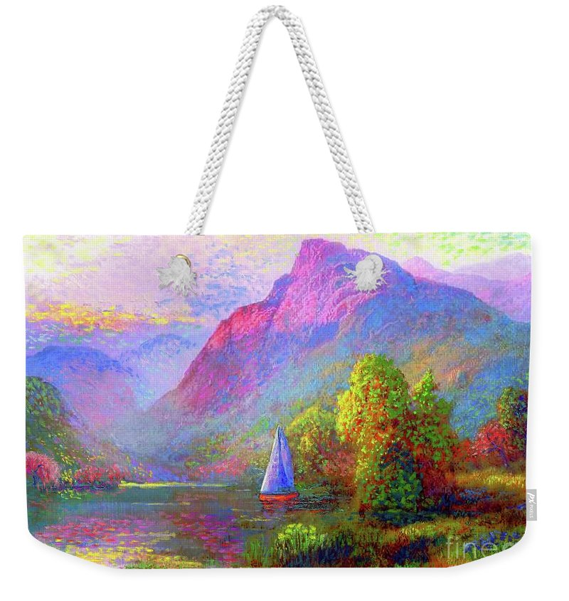 Spring Weekender Tote Bag featuring the painting Sailing by Jane Small