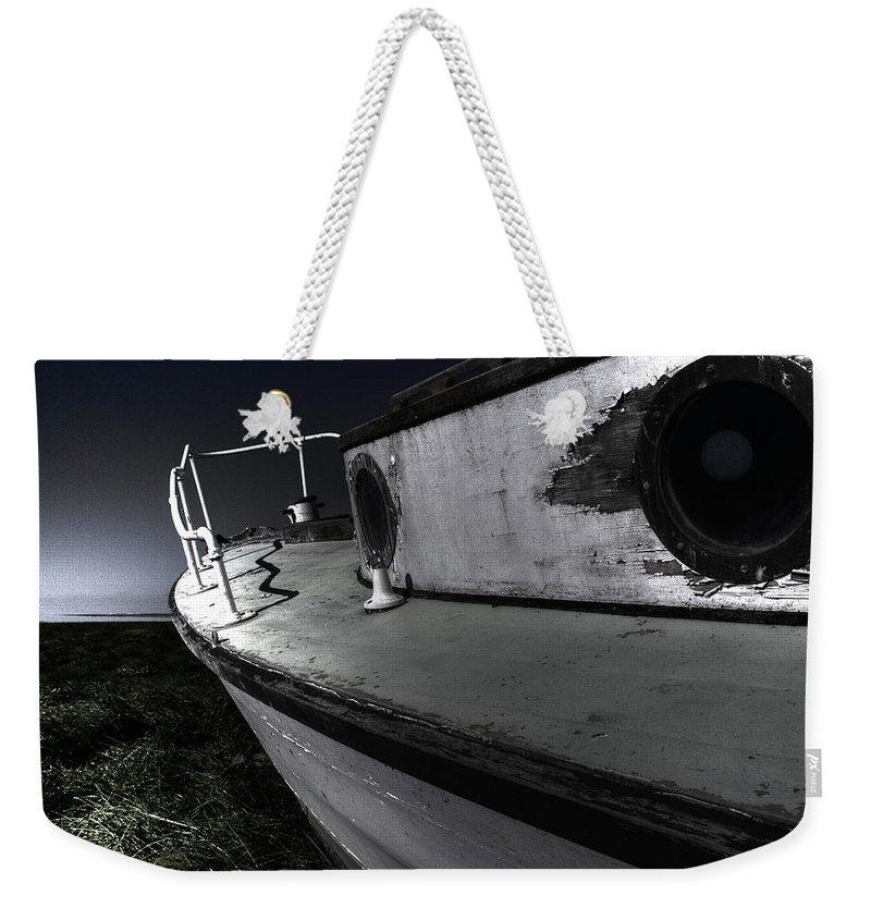 Sailing Weekender Tote Bag featuring the photograph Sailing Land by Kelly Jade King
