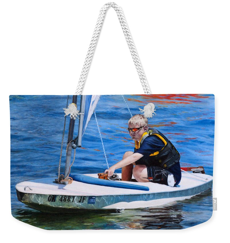 Seascape Weekender Tote Bag featuring the painting Sailing On Lake Thunderbird by Joshua Martin