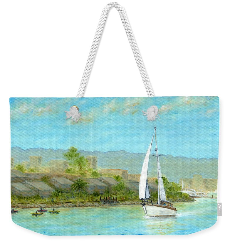 Sailing Weekender Tote Bag featuring the painting Sailing Out To Sea by Jerome Stumphauzer