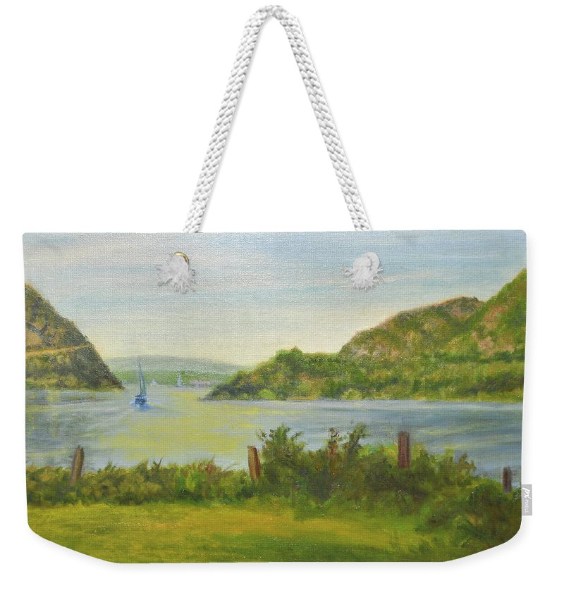 Landscape Weekender Tote Bag featuring the painting Sailing Past Cold Spring by Phyllis Tarlow