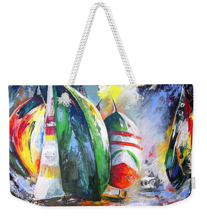 Sailing Boats Painting Weekender Tote Bag featuring the painting Sailing Regatta by Miki De Goodaboom